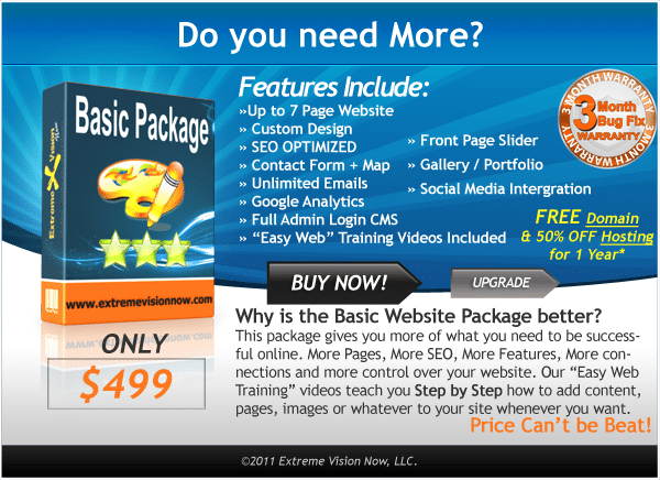 Basic Web Design Packages Price Cost
